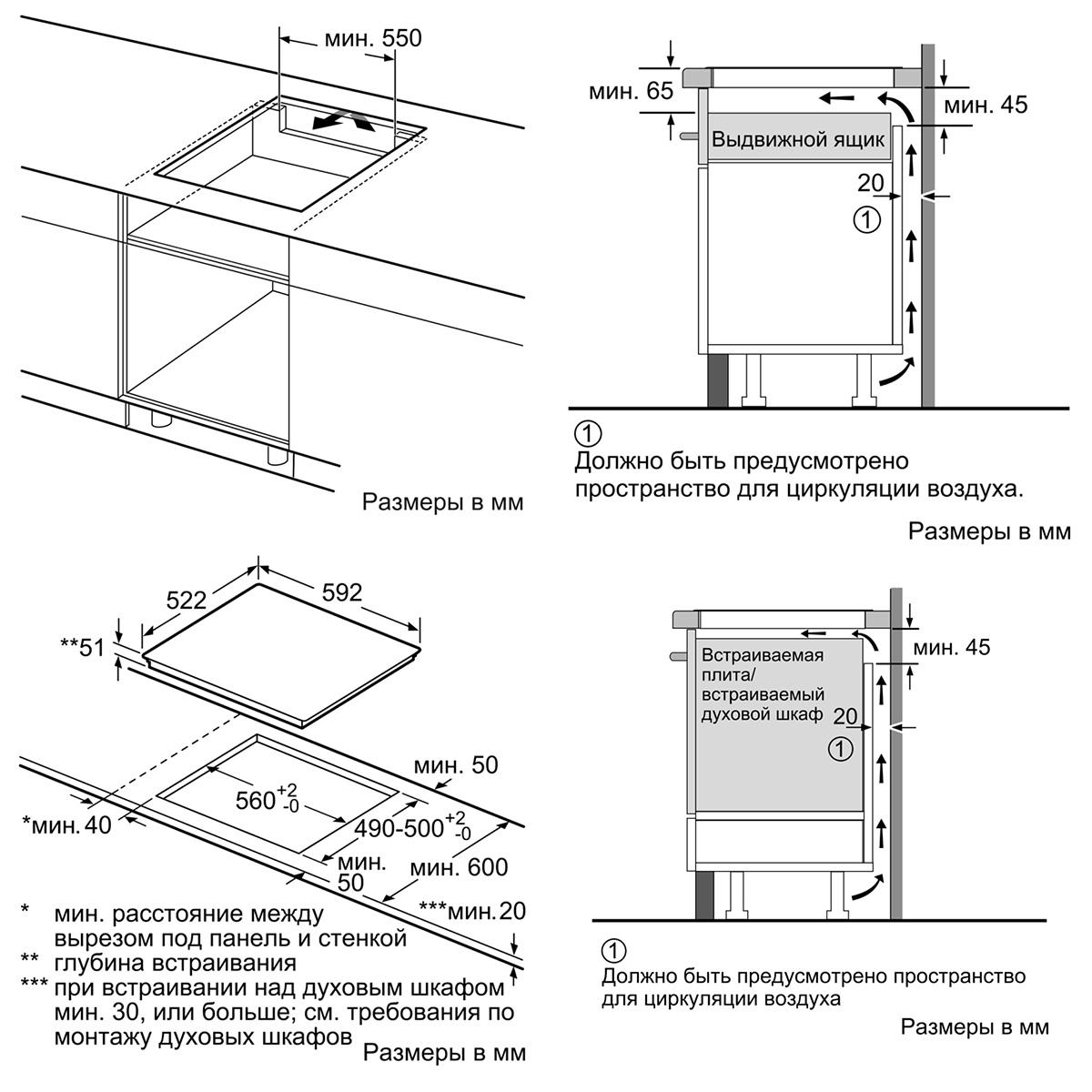 Схема встройки варочной панели фото 718