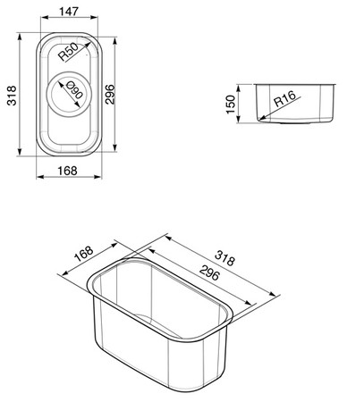 Артикул:VSTR16 Размер шкафа:40-50 Форма мойки:для подстольного монтажа Длина, см:31,8 Бренд/серия.