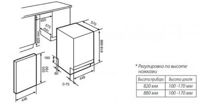 Полностью встраиваемая посудомоечная машина Ширина 45 см.