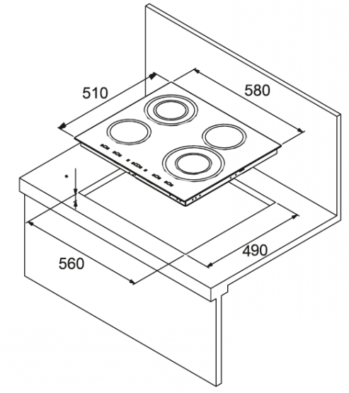 Стандартные размеры варочных панелей схема