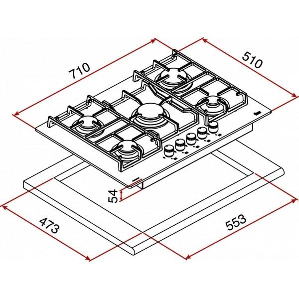 размеры варочная панель 5 конфорок 71 см ширина