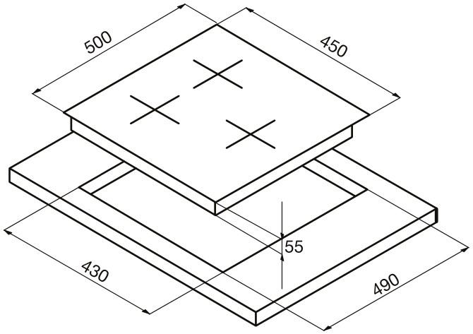 Размеры варочной панели с 3 конфорками 45 см ширина